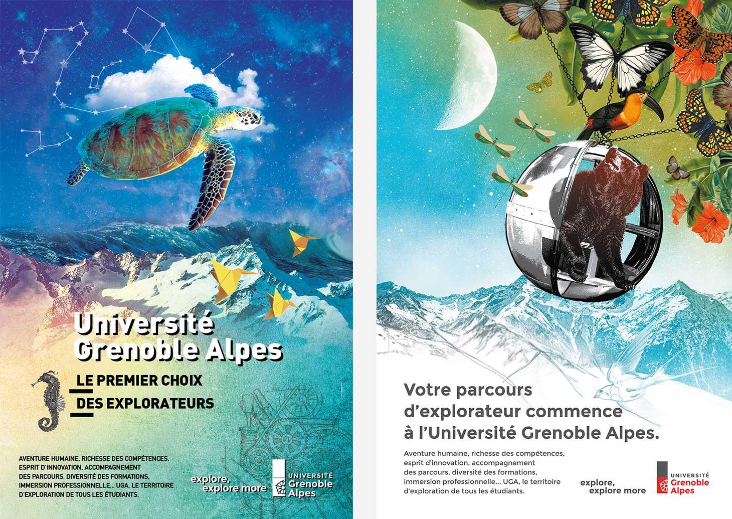 Affiches de la campagne Parcoursup 2019 de l'Université Grenoble Alpes